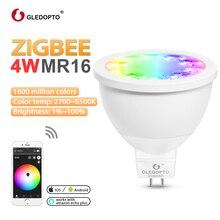 GLEDOPTO ZIGBEE LED MR16 4W RGB+CCT spotlight ww/cw 2700-6500k DC12V warm white work with zigbee 3.0 gateway amazon echo plus