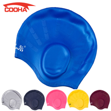 Professional Waterproof Adult Unisex Silica Gel Ear Swimming Cap Men Women Silicone Swim Cap Pool Hat Ear Protectors