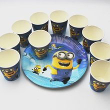 20pcs/set Minions Plate/Cup Kids Birthday Decoration Festival Party Supplies Favors Boys Or Girls Cartoon Theme supplies