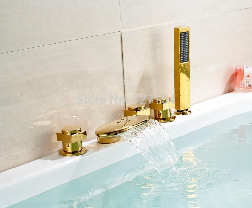 Free shipping! New Waterfall Bathroom Tub Faucet Deck Mounted Sink Mixer Tap Golden Brass Mixer