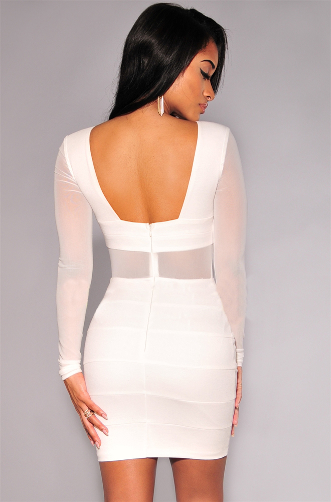 Long sleeve white dress women