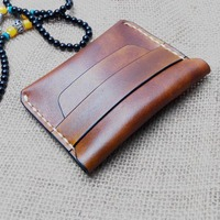 Top Cow Leather Coin Purse Men Handmade Mini Wallet Retro Small Purse For Coins Genuine Leather