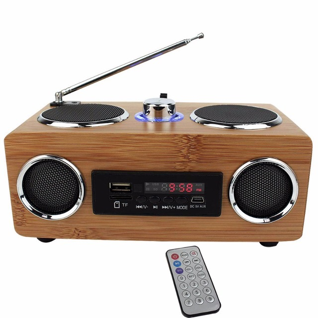 FM Radio Bass Stereo Bamboo Multimedia Speaker TF Card /USB/FM Radio / MP3 Player+Remote Control Radio Recorder Portable Y4113O