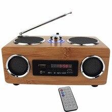 Radio мультимедийный recorder бамбука бас fm-радио спикер tf стерео плеер пульт