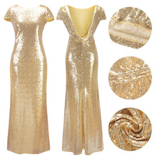 Ruiyige Sexy Gold Sequined Party Long Dress Elegant Solid Backless Sequin Women Dresses 2018 Maxi Mermaid Vestidos De Festa