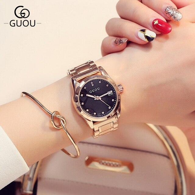 GUOU Марка Роскошные Для женщин Часы Мода Кварцевые водонепроницаемые женские часы из нержавеющей стали Для женщин со стразами Часы Relogio feminino