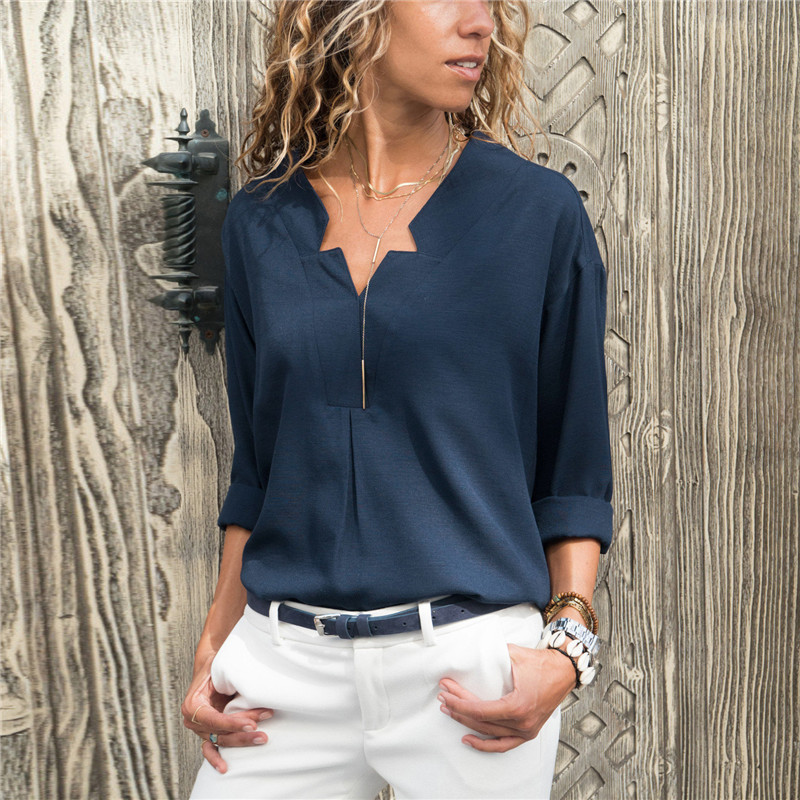 Spring Women Blouses Solid Long Sleeve Shirts Sexy V-neck Blouse Elegant Top Womens Loose Casual Tunic Shirt Plus Size Blusas