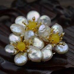Amxiu ручной работы на заказ природные формы жемчуга брошь с пчелиным воском изделия двойной Применение кулон три броши-булавки в виде цветов