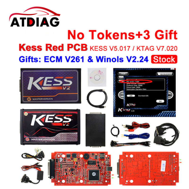 100% Stock Red EU Version KESS V5.017 V2.23 No Tokens Limit Kess Master HW 5.017 Kess V2 OBD2 Manager Tuning Kit 5017 ECU цена