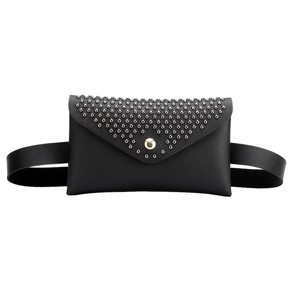 Punk Solid Color Rivet Shoulder Waist Bags Flap Fanny Belt Packs Women PU Leather Crossbody Casual Messenger Chest Bags