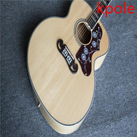 KpoleOriginal Wood Color AAA Solid Spruce Top SJ200 Classical Acoustic Guitar Tiger Fire Maple Back And
