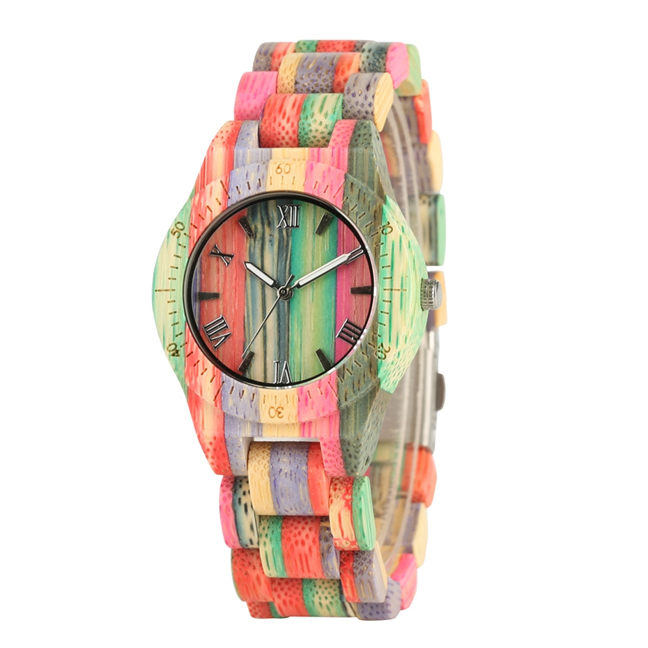 Men Women Fashion Colorful Wood Bamboo Watch Quartz Analog Handmade Full Wooden Bracelet Luxury Wristwatches Gifts for Lovers 2020 (13)