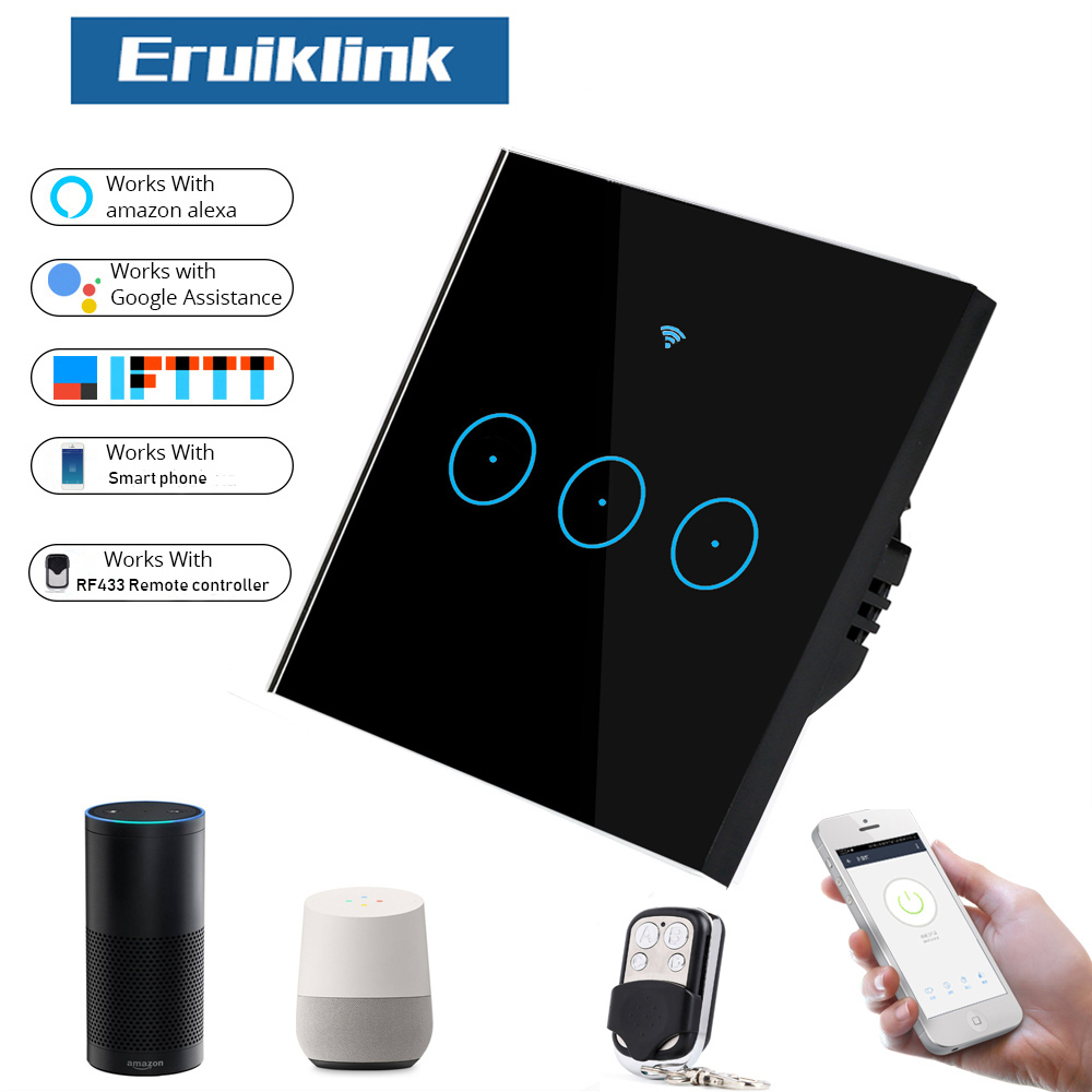 Wi-Fi Touch Switch Wall Light Panel Wireless Intelligence Timing/&Remote Control
