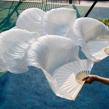 High Quality Silk Belly Dance Fan Dance 100% Real Silk Veils Left+right Colors On Sale 180*90 cm picture color