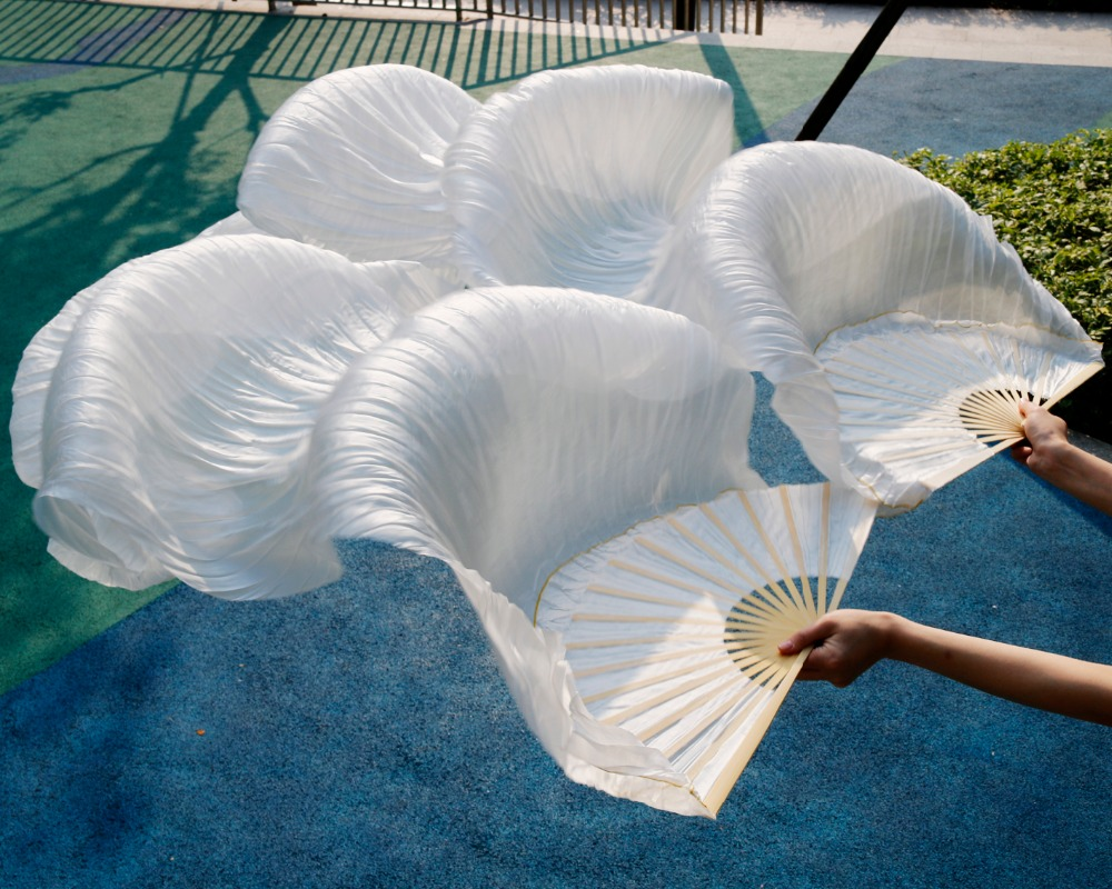 Silk Belly Dance Fan Dance 100% Real Silk Veils Vänster + höger Färger till salu 180 * 90 cm bildfärg