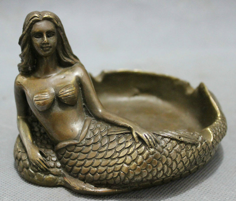 Chinese Bronze Copper Folk Myth Belle Mermaid Sea maid Fish Statue Ashtray