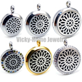 Round Silver Sunflower (20-30mm) Aromatherapy / Essential Oils Stainless Steel Aroma Diffuser Locket Necklace with Pads
