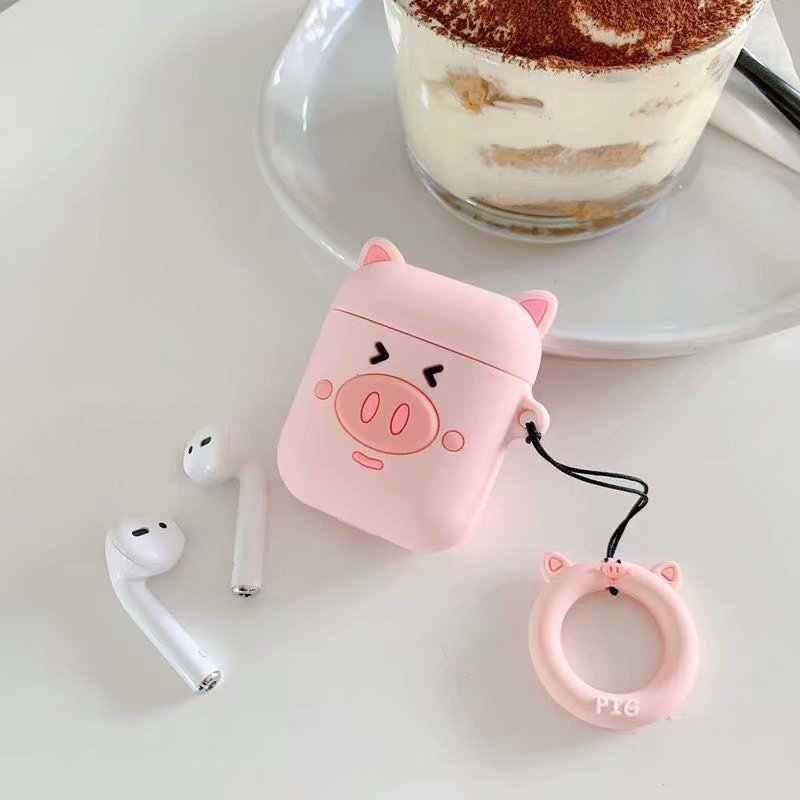 Anti-lost หูฟังสำหรับ Apple Airpods ผู้หญิงน่ารักสาว 3D การ์ตูนหมูสีชมพูสำหรับ Airpods ซิลิโคนอ่อนพร้อมสายคล้องคอ