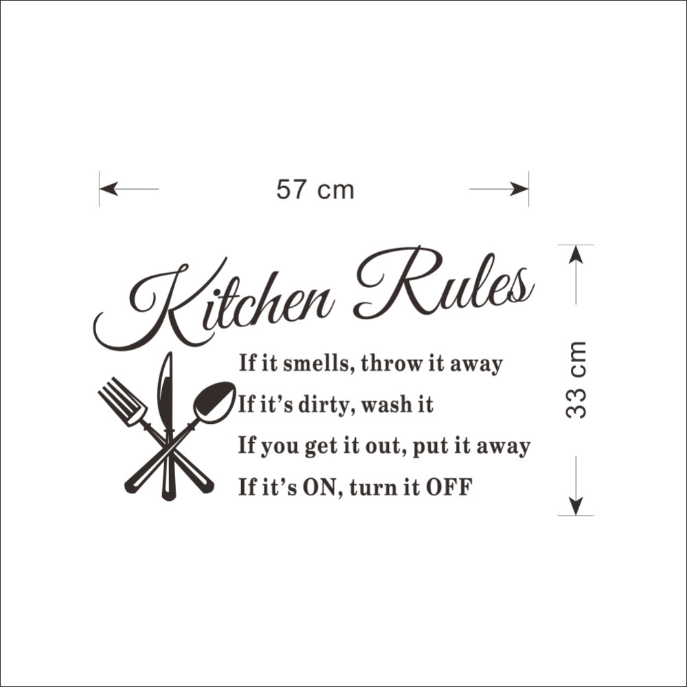 DIY Wall Stickers Kitchen Rules Decal Home Accessories Beautiful ...