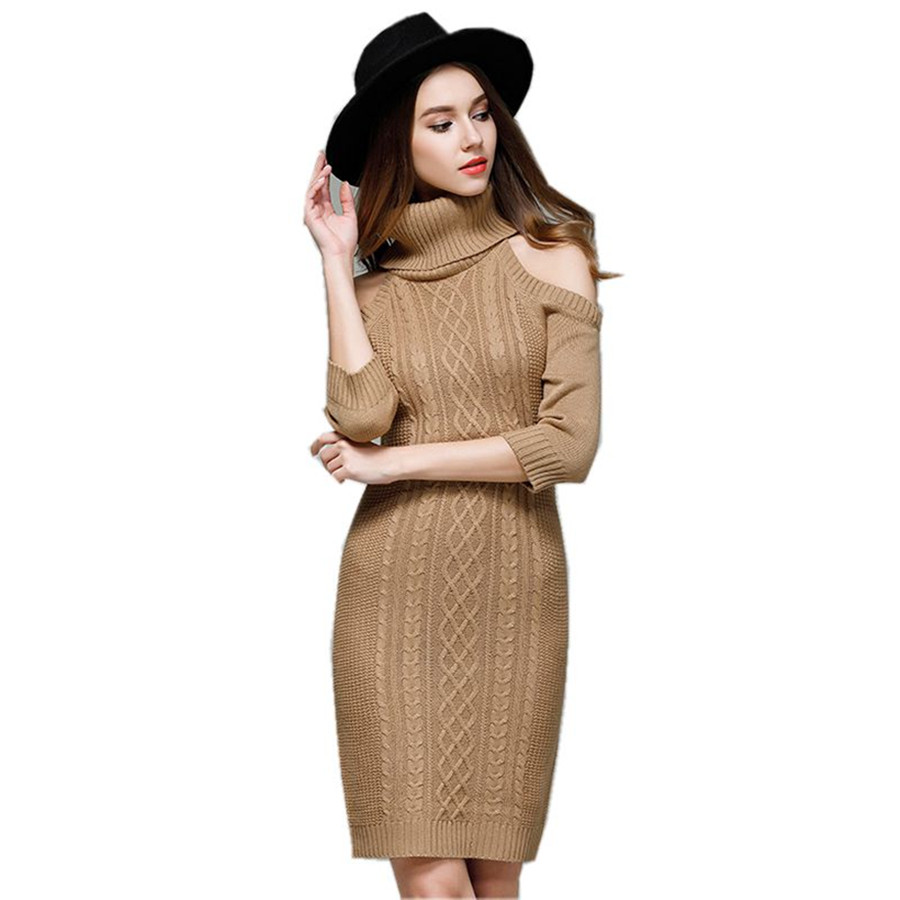 Women knitted dresses long turtleneck sexy sweater dresses 2018 cotton slim bodycon dress pullover female Autumn winter dress new women spring autumn knitted sweater dress cotton slim pullover female bodycon party club wear dresses