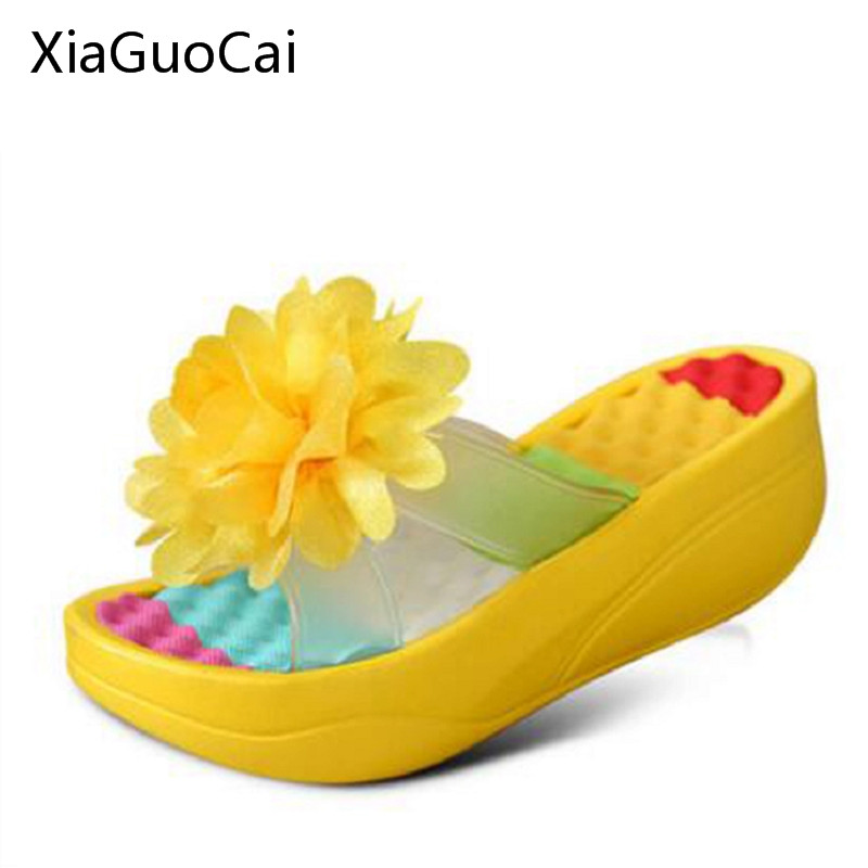 2017 Summer Korean Style Slippers Female Sandals Anti-skid Flowers Platform Beach Shoes for Women Creepers X1364 35 fish mouth gladiator sandals women platform wedges shoes 2017 summer beaches ladies shoes korean style creepers women s sandles