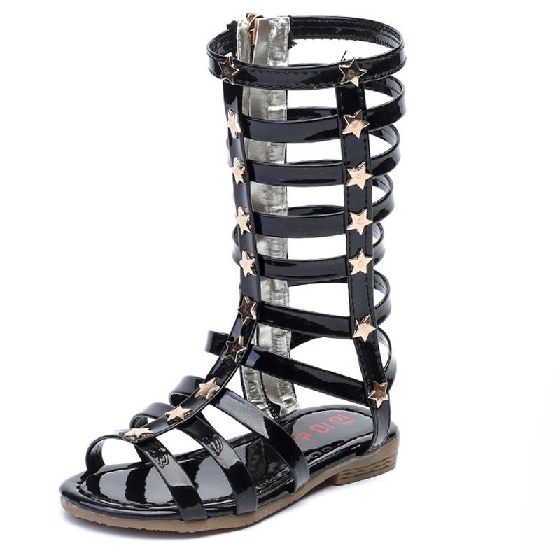 2019 Summer New Children's Sandals For Girls Fashion High To Help Long Tube Roman Shoes Hollow Sandals Kids Knee Boots Gladiator