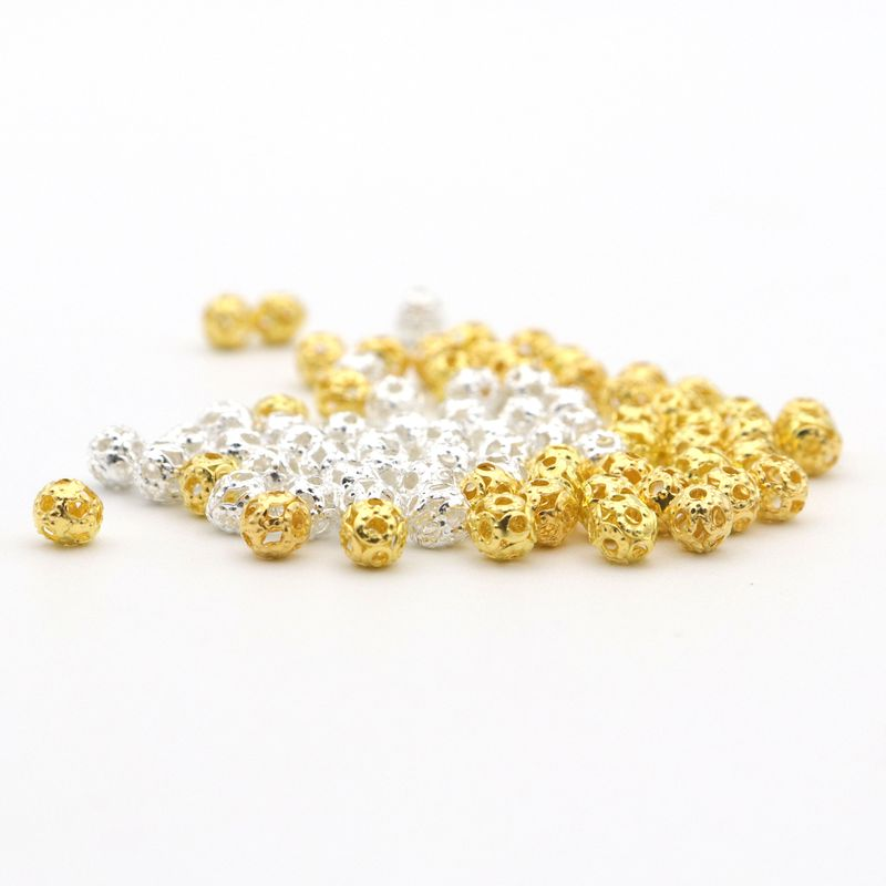 NEW 4MM Gold Silver Bronze Iron Beads Mixed Round Spacer Loose Beads 100pcs 4MM