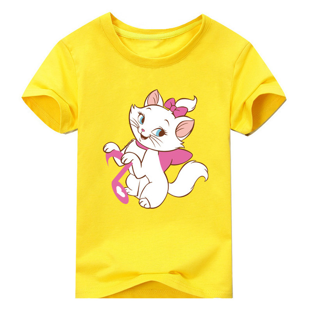 397fcedbaca79 US $5.2 |Baby Boys Girls Marie Cat T Shirt Tee Tops Cartoon Roupas Kids The  Aristocats Short Sleeve Tee Children Costume Cosplay Clothes-in T-Shirts ...