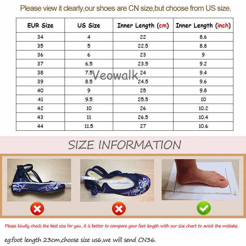 Veowalk 3D 花刺繍が女性のポインテッドトゥキャンバスバレエカジュアルソフト靴 Zapatos Mujer ミントグリーン