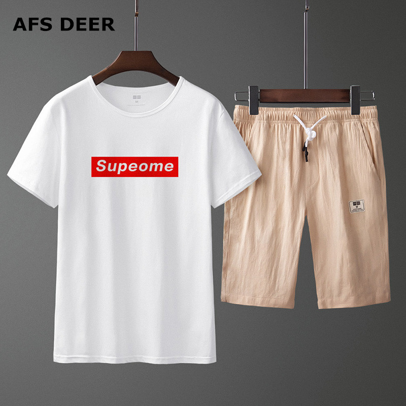 Brand Men's Tracksuit Summer Men Set Short Sleeve T Shirts Two Piece Tops+ Shorts Suit Sportswear Set Men's Sets10 CLOLORS