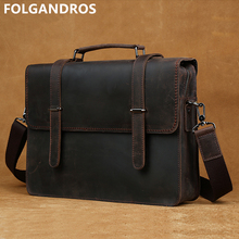 "FOLGANDROS Genuine Leather 14"" Laptop Briefcases Men's Messenger Shoulder Computer Notebook Bag Vintage Cowhide Document Handbag"