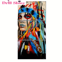3Pcs Full Square Diamond 5D DIY Diamond Painting Indians Feathered Embroidery Cross Stitch Rhinestone Mosaic Painting