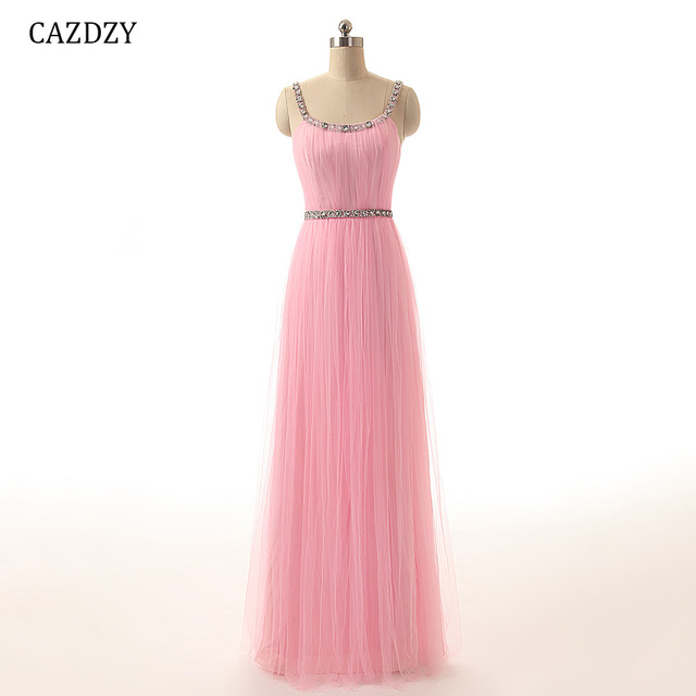 47 Colors Bridesmaid Dress With Crystal beaded Beach A Line Tulle Long  Party Blush Dress Elegant Zipper Up For Women 1-100 b495451489e3