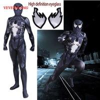 VEVEFHUANG New 2019 Venom Symbiote Spiderman Costume Movie Venom Cosplay Marvel Black Zentai Suit Halloween Costumes For Adult