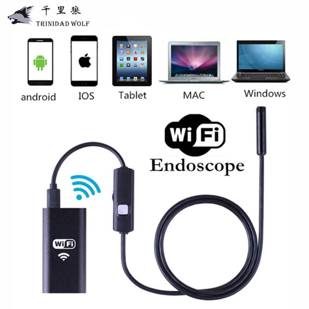 TRINIDAD WOLF IOS Wifi Endoscope 8mm Lens 6 LED Wireless Waterproof Android Endoscope Inspection Borescope Camera 1M 2M 5M Cable 8mm 1m 2m 3 5m wifi ios endoscope camera borescope ip67 waterproof inspection for iphone endoscope android pc hd ip camera