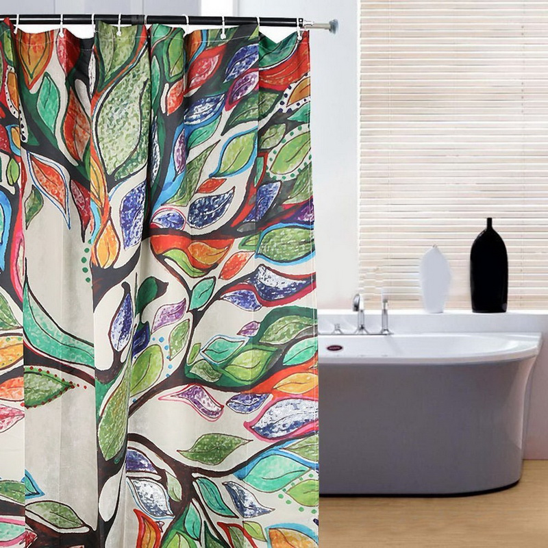 Butterfly Tree Bathroom Waterproof Fabric Shower Curtain With 12 Hooks Colorful Tree Pattern Waterproof Fabric Bathroom
