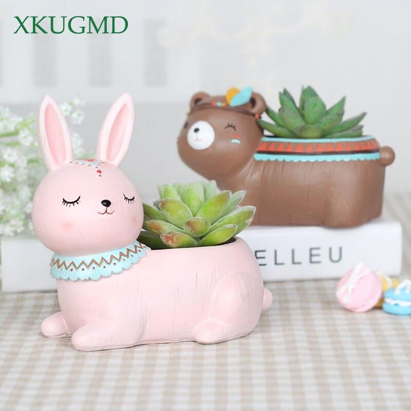 Cute Cartoon Animal Flowerpot Resin Succulent Plant Vase Fox Elephant Deer Bear Rabbit Planter Pot Home
