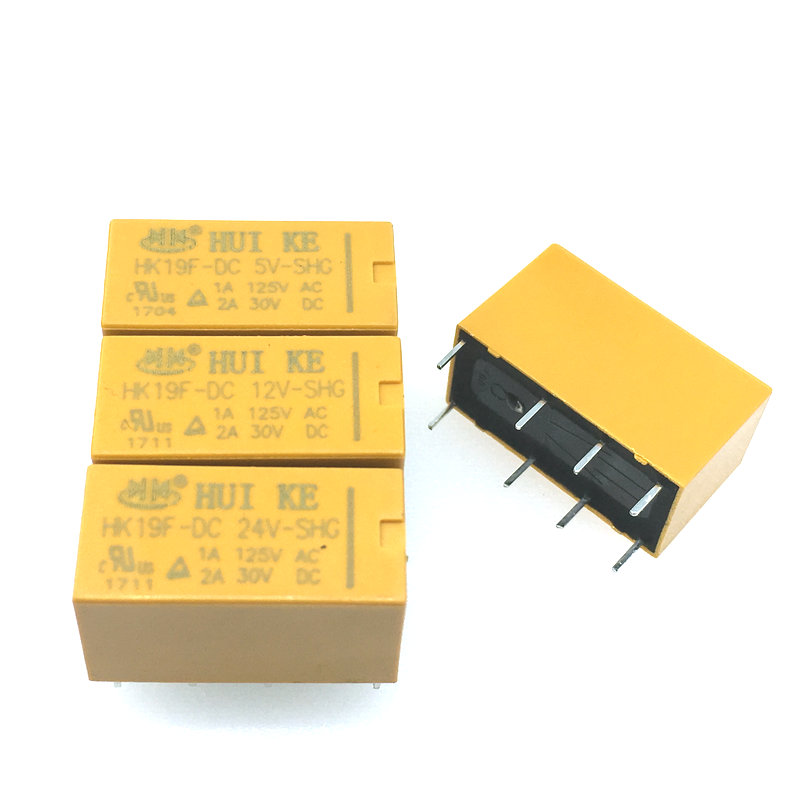 5PCS Relay HK19F-DC5V-SHG HK19F-DC12V-SHG HK19F-DC24V-SHG HK19F 5V 12V 24V hk3ff dc5v shg 5 pin power relay black 5 piece
