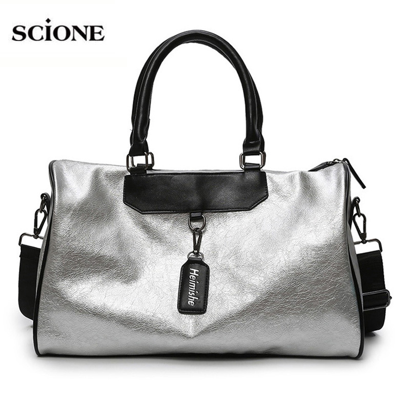 Women Silver Fitness Gym Bag Traveling Bags Glitter Sac De Sport For Men Training Travel Tas Sports Outdoor Gymtas Sporttas Xa32