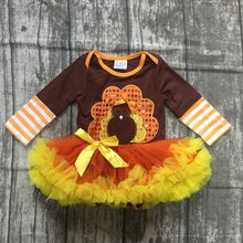 fall/winter thanksgiving day baby girls cotton dress turkey brown stripe tutu romper toddler romper children clothes boutique(China)