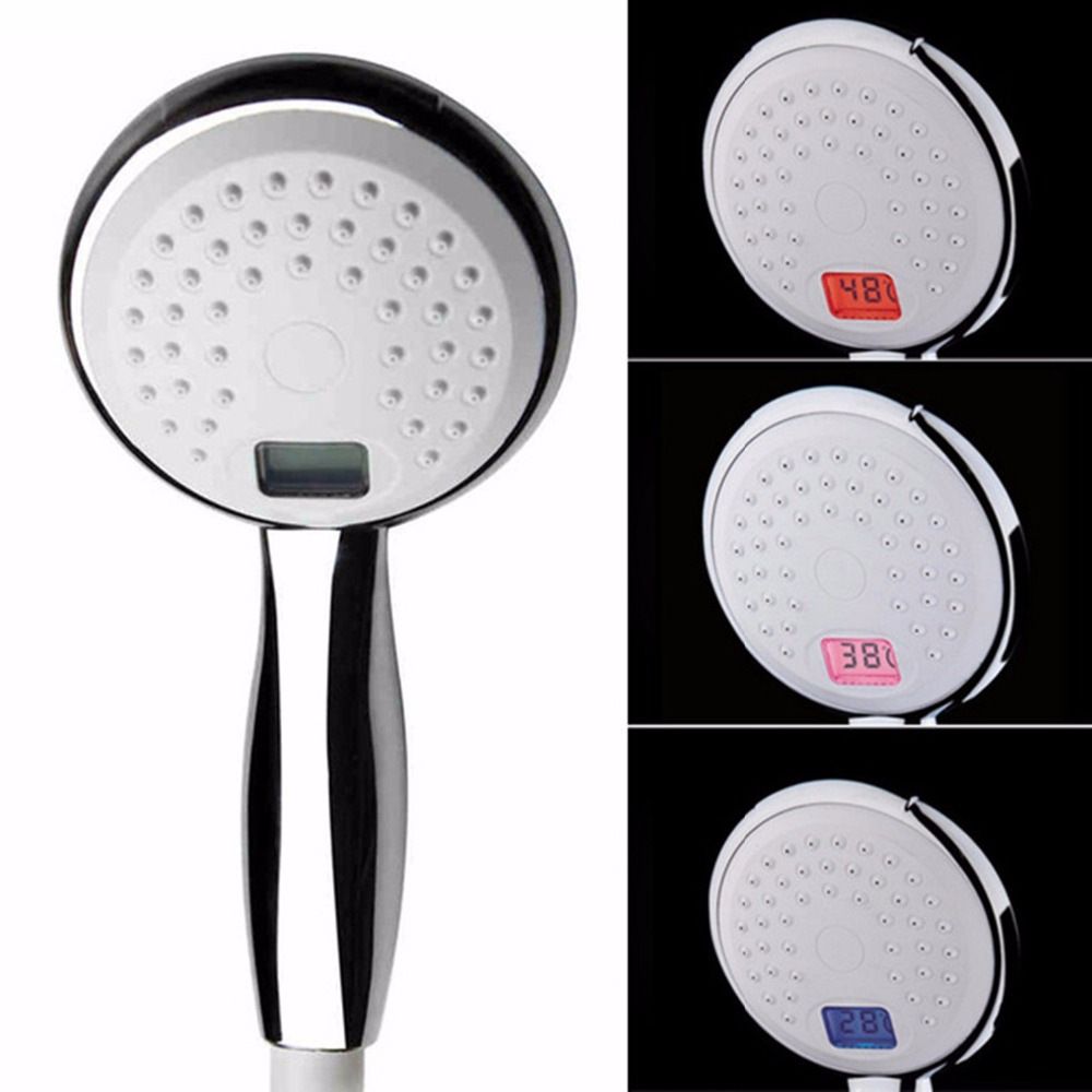 LCD temperature control shower- Number display showerhead - 3 color changing handheld nozzle- Faucet Nozzle Bathroom new bathroom products automatic luminous color led 3 round shower caddy color handheld shower temperature sensor