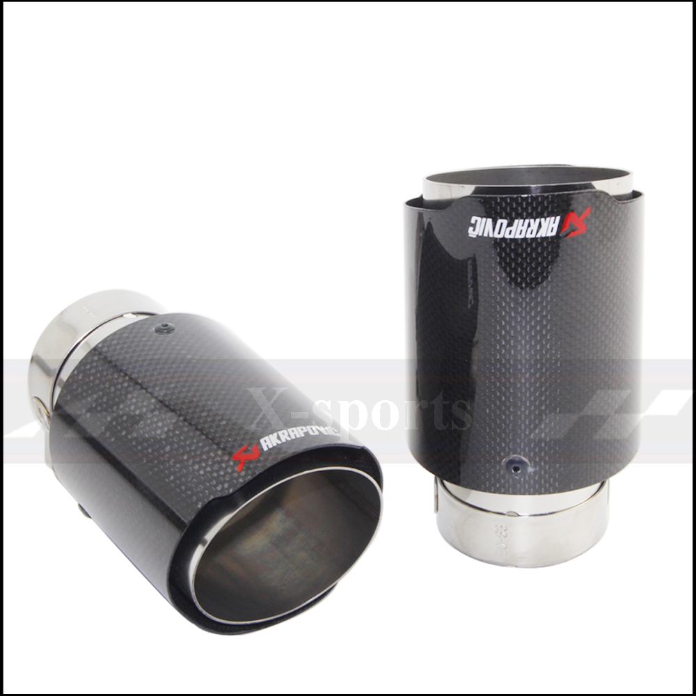 Car Styling Akrapovic Glossy Carbon Fiber Muffler Tip Exhaust Systems Tail Pipes Stainless Steel Trim Straight