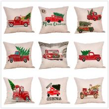 цена на Christmas Tree Pillow Cases Christmas Cotton Linen Sofa Car Home Size Cushion Cover Throw Pillowcase Vehicle Home Decor 44x44 Cm
