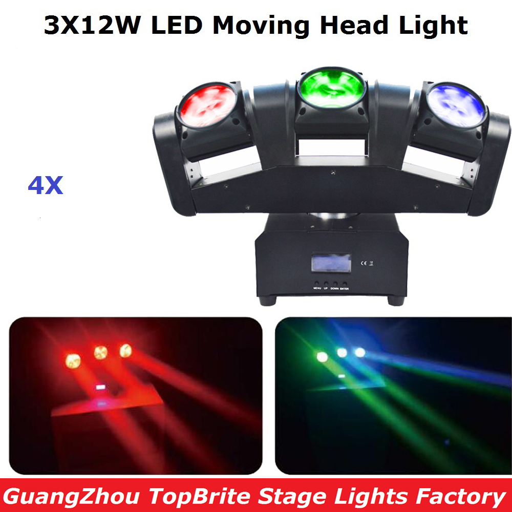4Pcs/Lot LED Mini 3 Heads Moving Head Light Dj Disco Party Night Club Pub Bar KTV 3X12W Moving Head Beam Light Free Shipping