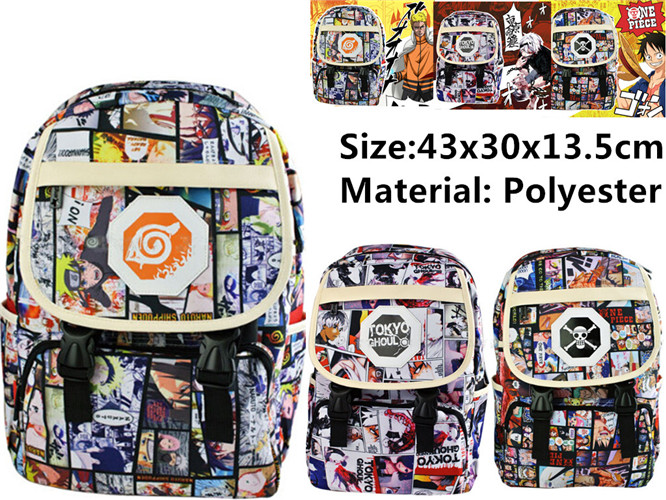 Anime Tokyo Ghoul NARUTO One Piece Kongfu Naruto Sasuke Backpack bag Cosplay Student Backpack Shoulder School Bag anime tokyo ghoul cosplay anime shoulder bag male and female middle school student travel leisure backpack