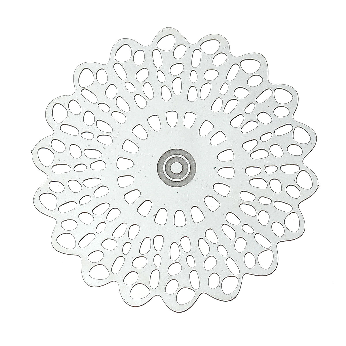 DoreenBeads Stainless Steel Embellishments Findings Flower Silver Tone Hollow 35mm(1 3/8)x 34mm(1 3/8),20 PCs 2015 new