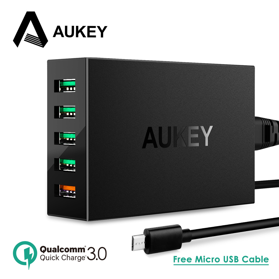 AUKEY Quick Charger 5 Ports USB Desktop Charger Smart Mobile Phone Charger for LG Xiaomi Galaxy