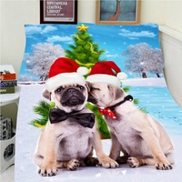 Blankets Warmth Soft Plush Funny Wearing Christmas Hat Dog Pug Christmas Sofa Bed Throw A Blanket