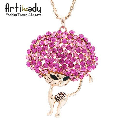 holiday sale Artilady 18k gold plated lovely cat design crystal necklaces fashion pink cat necklaces 3 colors