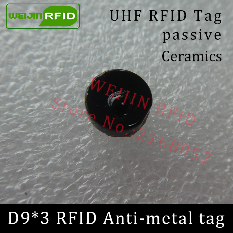 UHF RFID anti-metal tag 915mhz 868mhz Alien Higgs3 EPCC1G2 6C D9*3mm very small circular Ceramics smart card passive RFID tags 1000pcs long range rfid plastic seal tag alien h3 used for waste bin management and gas jar management